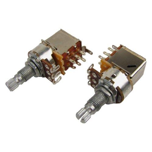 IKN 2pcs A500K Push Pull Potentiometer Audio Lautstärke Tone Schalter Töpfe Split Shaft L18mm für E-Gitarre Bass Ersatz -