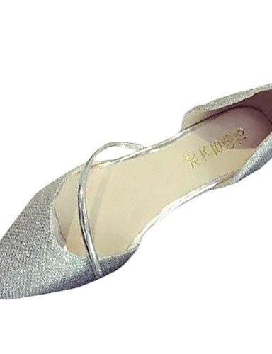 ZQ Damen-Flache Schuhe-L?ssig-PU-Flacher Absatz-Komfort-Silber / Gold silver-us6.5-7 / eu37 / uk4.5-5 / cn37