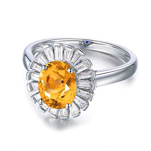 Bishilin 925 Silber Ring Verlobung Strass Oval Gelb Citrine Ehering Trauring Silber Ringe Gr.56 (17.8)