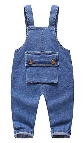HAPPY CHERRY Baby Latzhose aus Jeans Unisex Kinder Hose mit Verstellbar Träger Jungen Mädchen Babyhose mit Hosenträger Kleinkinder Overall Hose mit Bauchtasche in Blau Größe S 80CM