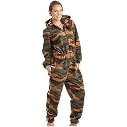 Combinaison Pyjama à Capuche en Polaire - Motif Camouflage - Femme - Vert - Taille 38 à 52 42/44