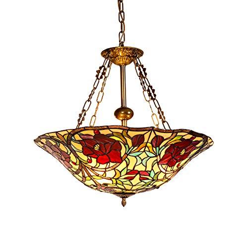 Hlidpu 3-Licht Tiffany Glasmalerei Pendelleuchte, Deckenleuchte Schüssel Anhänger, Esszimmer Hängelampe Inverted Deckenanhänger mit Schatten, Bronze -