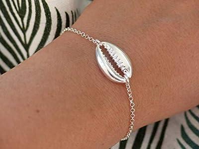 Bracelet cauri argent - Bracelet chaine argent 925 - Coquillage argent massif - Bracelet coquillage cauri argent -Pendentif coquillage cauri