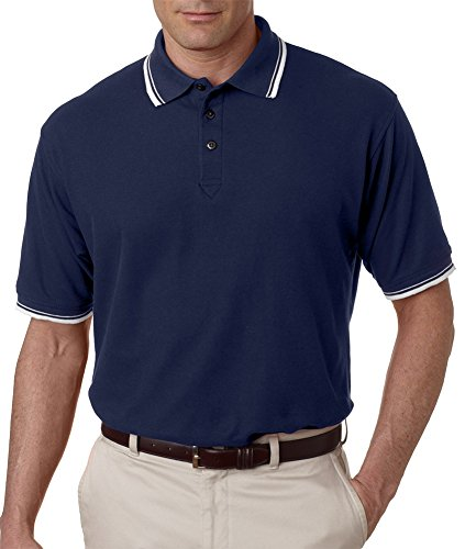 UltraClub Herren Poloshirt Blau - Navy/ White