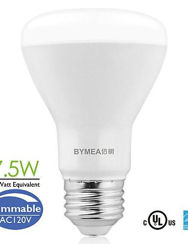 JLINER-bymea e26 7.5W 500lumen dimmbare LED-BR20 Flut Glühbirnen 2700-6500K (100-120V) , cool white (120v Flut)