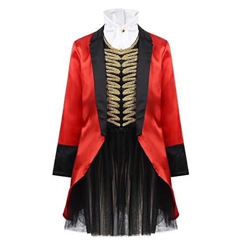 ranrann Disfraz de Mago para Niña Chaqueta Roja con Falda Tutú para Halloween Fiesta Carnaval Navidad Cosplay Traje Domadora de Circo Costume Rojo Y Negro 8 Años