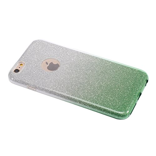 iPhone 6S Hülle,iPhone 6 Hülle,JAWSEU Kreative Schön Mermaid Muster Glänzend Glitzer Paillette Hülle Klare Ultradünne Silikon Gel Schutzhülle Durchsichtig Kristall Transparent Bling TPU Silikon Bumper Gradient Grün