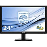 Philips 243V5LHSB/00 59,9 cm (23,6 Zoll) Monitor (VGA, DVI, HDMI, TN Panel, 1920 x 1080, 1 ms, 60 Hz, ohne Lautsprecher) schwarz