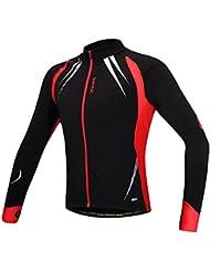 Hi8Store Santic hombres de invierno running chaqueta cortavientos ciclismo Outwear manga larga, rojo