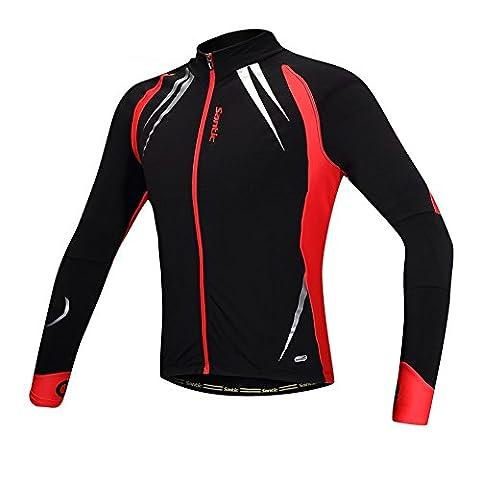 Santic Hommes Vestes de cyclisme Tops Bicycle Jersey à manches longues hiver Windproof Respirant Reflective Road Bike Coat