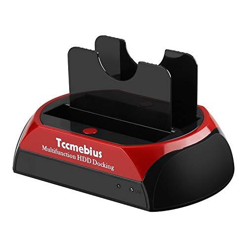 "Tccmebius Estación de Acoplamiento del Disco Duro, TCC-S867-DE USB 2.0 a 2.5 3.5 Pulgadas IDE SATA Doble Ranuras Caja Externa de HDD, para 2.5"" 3.5"" IDE SATA I/II/III HDD SSD"