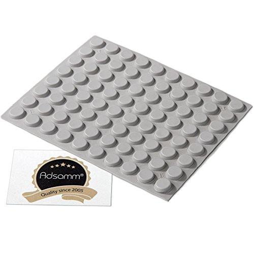 80 x selbstklebende Anschlagpuffer | Ø 13 mm | Höhe: 4 mm | rund | zylindrisch | Grau | Elastikpuffer zum Kleben für Möbel, Türen, Deckel, Glastisch, Fliesen | Top-Qualität von Adsamm® (Höhen Lauter Die Werden)