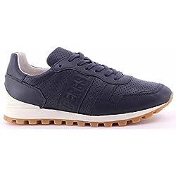 Scarpe Uomo Sneakers BIKKEMBERGS BKE108742 Numb Leather Blue Pelle Blu Nuove