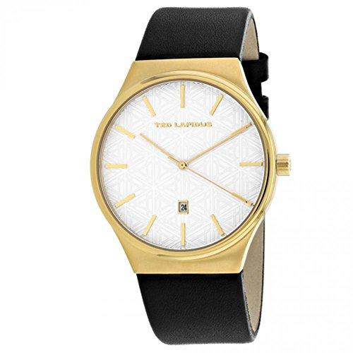 Ted Lapidus Classic Homme 42mm Bracelet Cuir Noir Quartz Montre 5131701