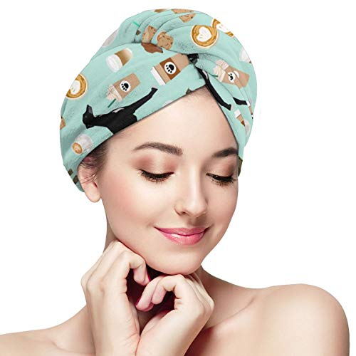 BATH LOVE Cute Greyhounds Mint Coffee Fabric Best Coffees Latte Fabric Cute Coffee Fabric Coffee Fabric Rescue Head Wraps for Women Shower Cap Anti-Frizz Absorbent Twist Drying Shower Towel Hat -