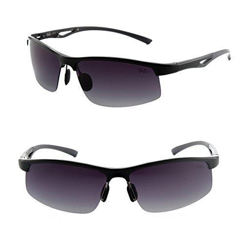 Männer Frauen Stil polarisierte Sonnenbrille Metallrahmen Sportbrillen (Schwarz, Grandient getönt)