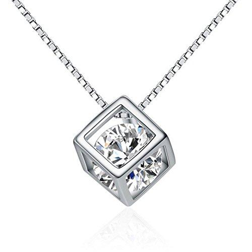 H&Y Kette Damen Schmuck Anhänger 925 Sterling Silber Halskette mit Zirkonia Stein Kettenlänge 45cm und Schmucketui