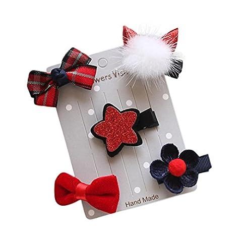 Stirnbänder Longra 5Pcs Baby Mädchen Bogen Blumen Barrettes Stern Haar