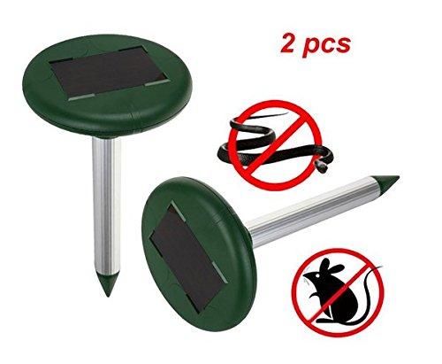 2 pcs Ultrasonic Electronic Drive Away Mole Rat Deterrent Mouse Snake Insect Repel Equipment pour jardin extérieur Garden Zone efficace d'environ 800 mètres carrés