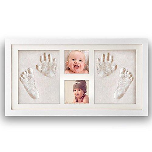 [Version mise à niveau]Pootack Kit Empreinte Bébé Cadre de Photo pour Souvenir la Naissance de Bebes et Enregistrer les Deux les Empreintes du Pied et Main de Bébés - Deux empreintes et deux cadre photo - Blanc