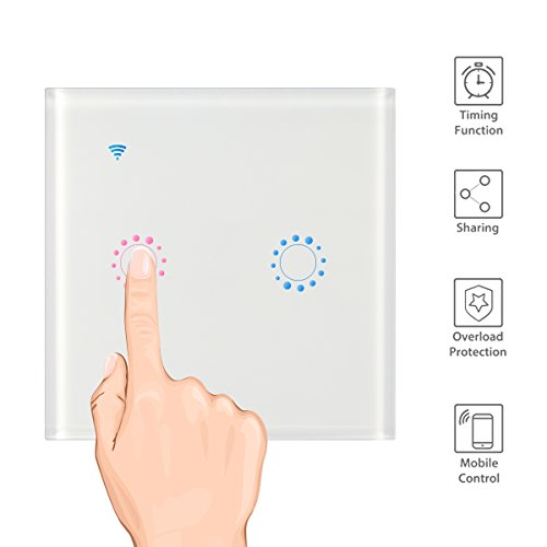 Licht-timer Wandschalter (Konesky WiFi Touch Wand Licht Switch Panel 2 Gang funktioniert mit Alexa Wireless Smart Wand schaltet APP Sprachsteuerung von Echo / Dot, Google Home für IOS Android (Neutralleiter erforderlich))