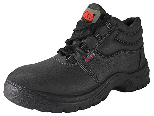 Mens Safety Work Boots Leather Steel Toe Cap & Midsole Size 3...