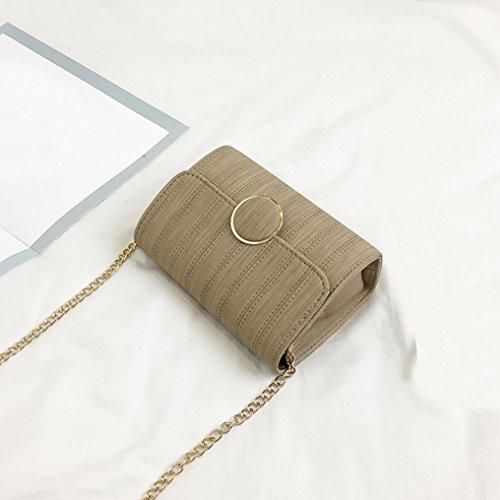Longra Sacchetto di spalla inclinato casuale dell'unità di elaborazione di colore solido delle donne Cachi