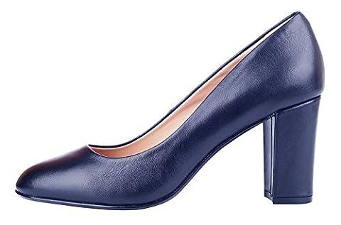 queenfoot Women's Mid Chunky Heel Almond Toe Genuine Leather Pumps