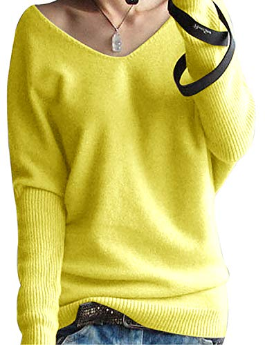 Yidarton Pull Femme Laine Maille Col V Casual Manches Longues Hiver Chaud Pullover Sweater Top Blouse (Jaune, XL)