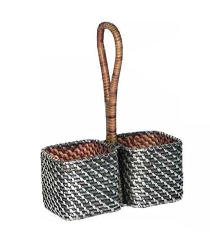 Oliera quadra in rattan naturale rivestito in argento