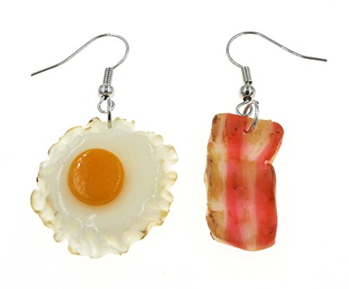 """Best Wing Jewelry""""Fried Egg and Bacon"""" Polymer Clay Dangle Earrings"""
