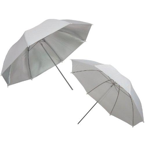 DynaSun UR02Professioneller Fotoschirm 83,8cm Professionelles Regenschirm Kit mit Shoot durch Diffusor, Diffusion Softbox und Reflektor reflektierende-Weiß/Silber Umbrella Kit