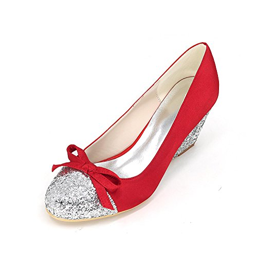 L@YC Tacchi delle donne Primavera Estate autunno Inverno Comfort Comfort Novità Pendenza di seta con festa di nozze e sera Stiletto Red