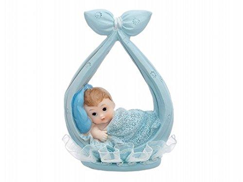 LoBeSo® Tortenaufsatz Babyfigur 11cm Baby Junge liegt in Tuch Farbe blau aus Polyresin Taufe Dekoration Tortendeko Kuchenaufsatz Kuchendeko Kindergeburtstag Babyparty Tortenfigur Baby Figur Torte