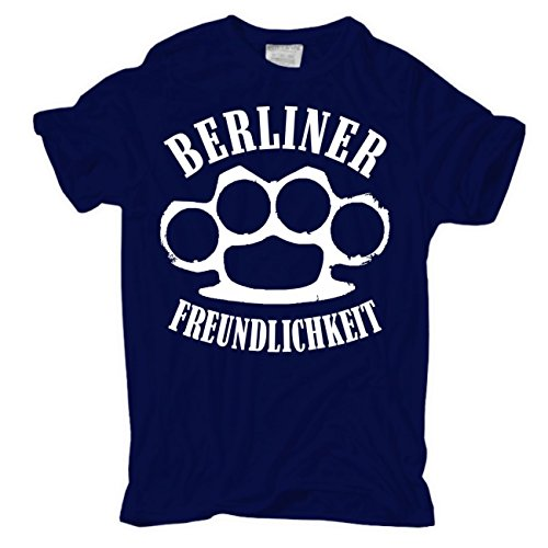 Männer und Herren T-Shirt Berliner Freundlichkeit körperbetont dunkelblau