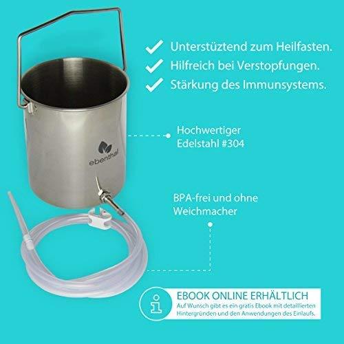 Premium Einlaufset zur Darmreinigung Edelstahl 2L EBENTHAL VITAL® • Darmeinlauf-Irrigator 2M Schlauch • Klistier-Set Einlaufbecher • Heilfasten & Entgiften per Darmspülung