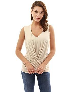 PattyBoutik Mujer Blusa sin mangas del dobladillo del cuello del cuello de v