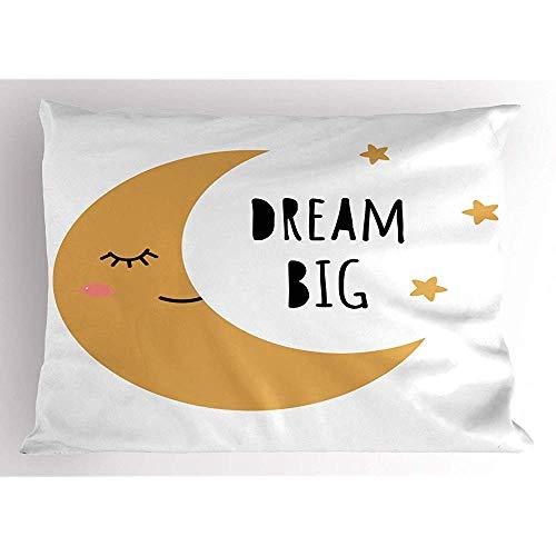 2 Stück Dream Big Pillow Sham,lächelnd,gelbgoldener Halbmond und Sterne,dekorativer Standard-Kissenbezug mit Queen-Size-Print,36 x 20,Sandbraun,Anthrazit,Koralle,Weiß -