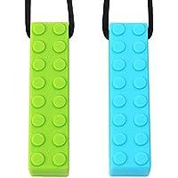 Collar Masticable Sensorial Por TYRY.HU Conjunto Lego mordedor colgante masticable de silicona perfecto para el autismo TDAH SPD motor oral Dentición y morder las necesidades 2 paquetes