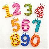 Home Buy,Wooden Fridge Magnet Numbers 0-9 Kids Educational Toy Baby Gift Multicolor