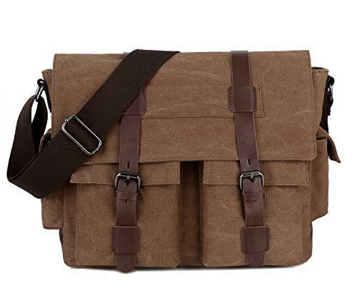 1b05b0748 BAOSHA MS-06 Vintage Military Men's Canvas Leather Messenger Bag Casual Cross  Body Travel Shoulder
