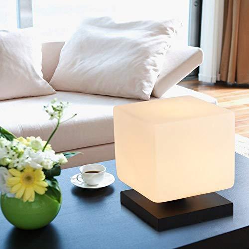 Cdeng Tischlampe Square Ice Brick Massivholzsockel Modern Minimalist Small Hotel Bed Schlafzimmer Nachttischlampe Best Value,Dimmer Square Ice