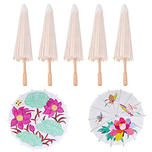 BraveWind Blanko Papier Regenschirm Japanischen Chinesischen Regenschirm Sonnenschirm Kinder DIY Regenschirm Projekte, Papier, 40cm, 5 PCS