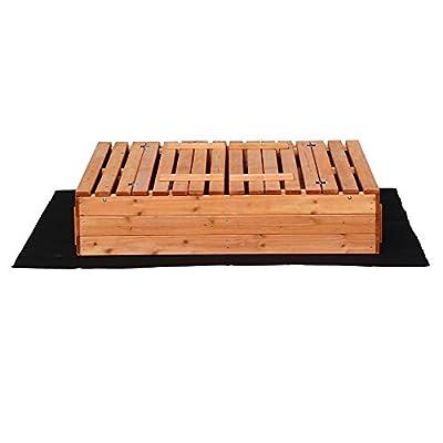 Sandkasten Deckel klappbar 2 Sitzbänke 980x980x200 mm Fichtenholz Vliesboden Sandbox Buddelkasten von WilTec - Du und dein Garten