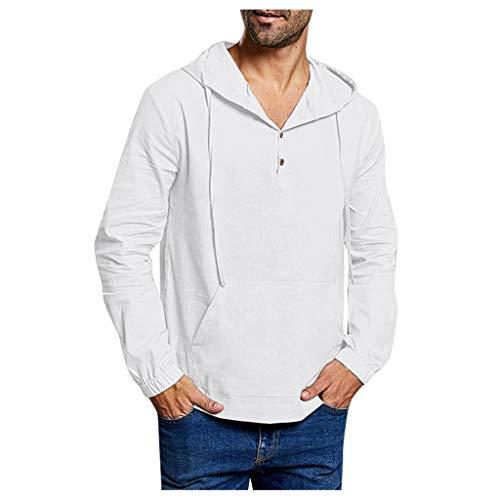SHE.White Herren Einfarbig Leinen Hooded Herbst Dünne Langarm Sweat Sweatshirt Casual Loose Freizeithemd T-Shirts Oberteile mit Knöpfen und Tasche Langarmshirts