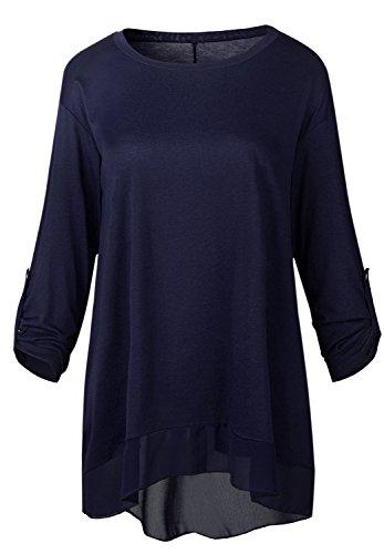 szivyshi Rolled Roll Sleeve Transparente Maille Layered Ourlet Plongeant Boutonnée Boutons Dos Loose Fit T-Shirt Haut Top Bleu foncé