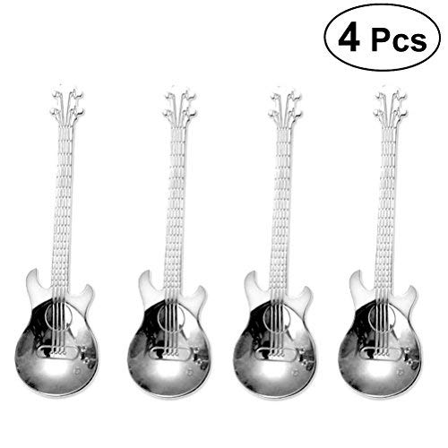 BESTONZON 4pcs Guitar Coffee Spoon Stainless Steel Coffee Mixing Spoon Cold Drink Tea Tools Kitchen Accessories (Silver) - Guitar Tools Kitchen