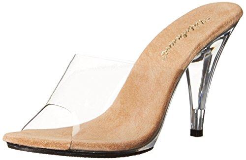 Pleaser Caress-401 Damen Peep-Toe, Clr-Tan/Clr, 35 EU -