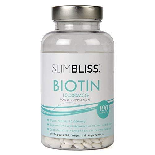 SlimBliss Biotin 10.000µg Tabletten für gesundes Haar-, Nagelwachstum und gesunde Haut, doppelt starkes Vitamin B7, Vegan