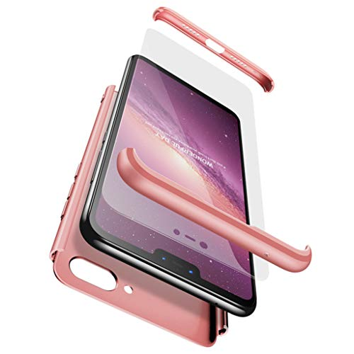 Ttimao Compatible with Xiaomi Mi 8 Lite Case PC Hard Case [Tempered Glass Screen Protector] Ultra-Thin Shockproof 360 ° Bumper Cover 3-in-1 Protective Cover (Rose Gold)
